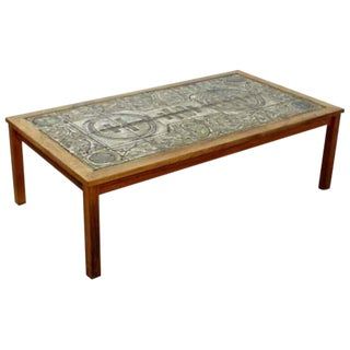 Mid Century Modern Rectangular Tile Topped Wood Coffee Table 1960s Denmark For Sale