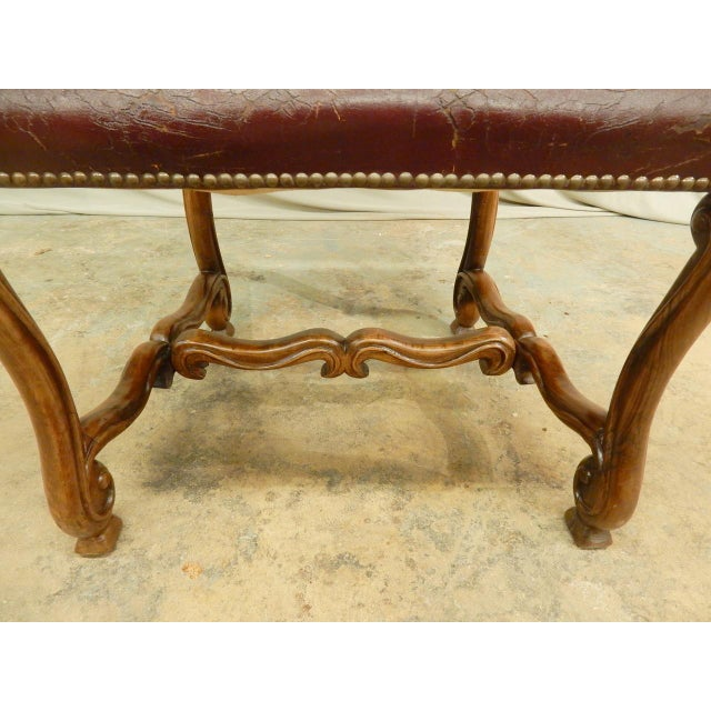Red Spanish Louis XIV Style Arm Chair For Sale - Image 8 of 9