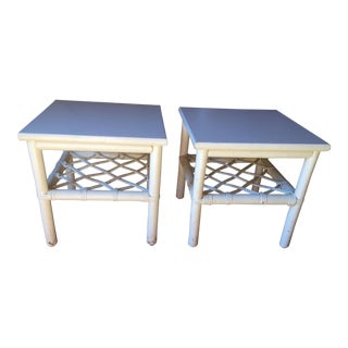 Ficks Reed White Trellis Side Tables - A Pair