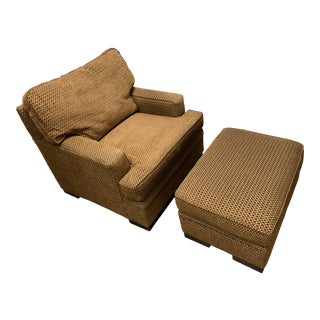 1990s Vintage Custom Upholstered Arm Chair and Ottoman For Sale