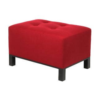Wooster Ottoman Wood Base Red Pull Tufted Tight Seat For Sale