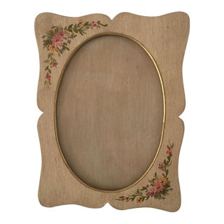 1950s French Cottage Hand Painted Floral Wood Picture Frame For Sale