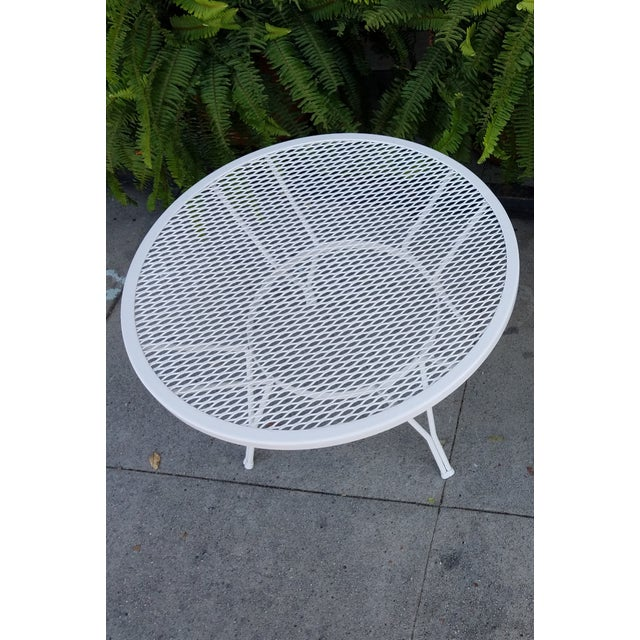 Mid-Century Round White Mesh Side Table - Image 3 of 6