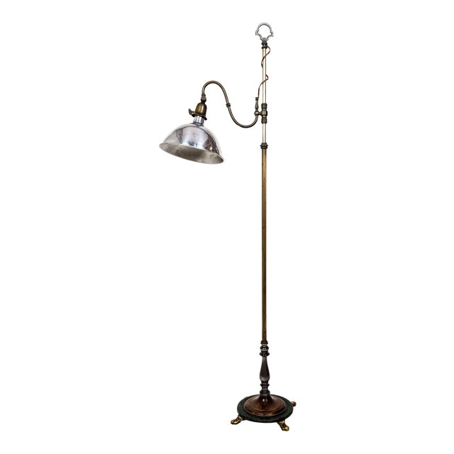 1930's Adjustable Paw Foot Floor Lamp With Green Accent Base For Sale