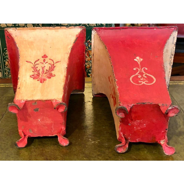 Metal Mid-Century Red Tole Jardeniere Planters - a Pair For Sale - Image 7 of 8