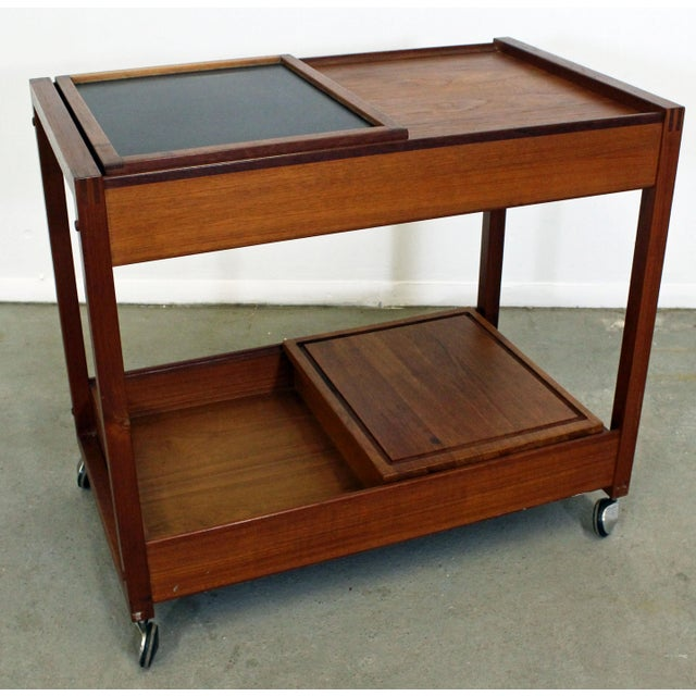 Mid-Century Danish Modern Teak Sliding Door Bar Cart For Sale - Image 11 of 11