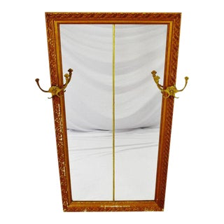 Early Distressed Gilt Gesso Framed Coat Rack Wall Mirror For Sale