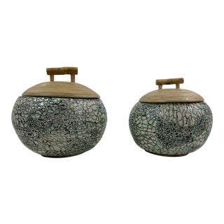 Silver/Green Eggshell & Bamboo Lacquered Covered Boxes - a Pair For Sale