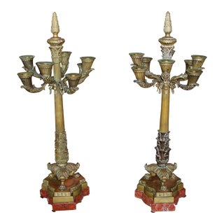 Marble & Bronze Candelabras - a Pair For Sale