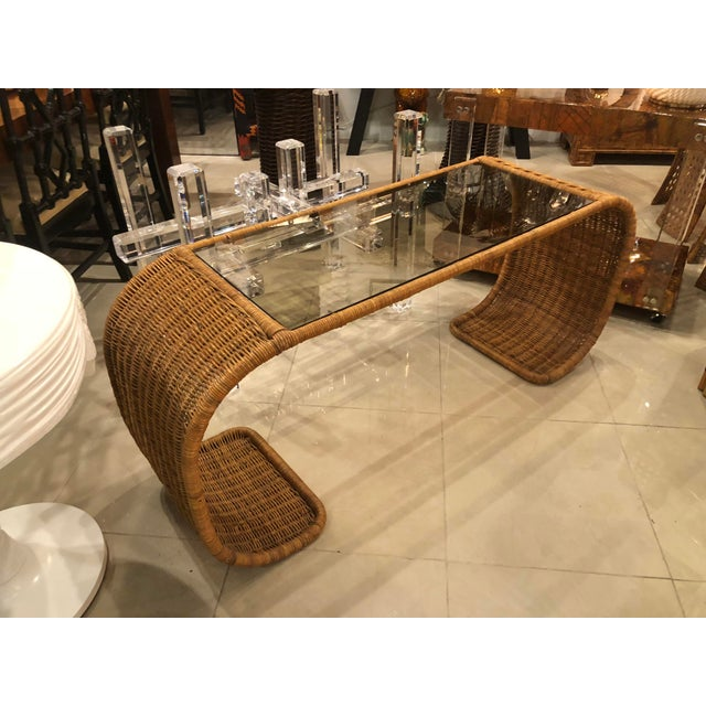 Asian Vintage Scroll Natural Wicker Console Table For Sale - Image 3 of 13