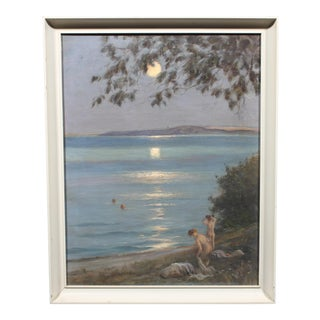Moon Bath by Hans Hilsoe, Early 20th C. For Sale