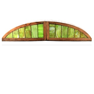 19th Century Antique Arched Stained-Glass Windows-A Pair Preview