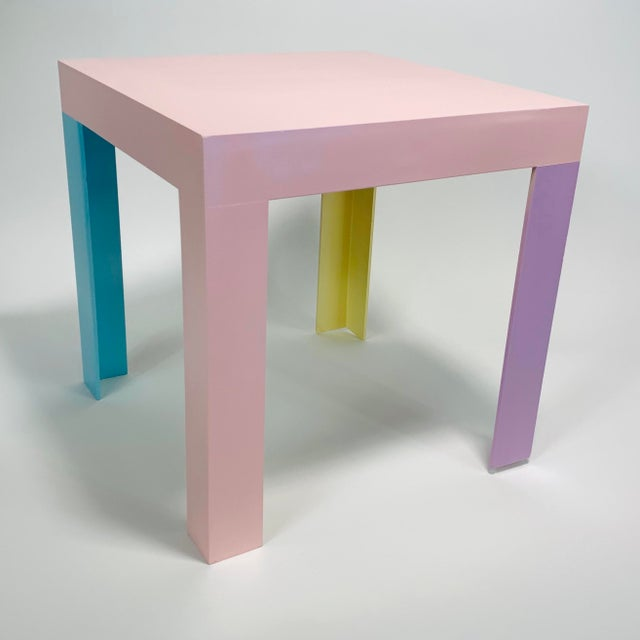 Mid-Century Modern Memphis Inspired Pastel Parson Style Side Table For Sale - Image 3 of 10