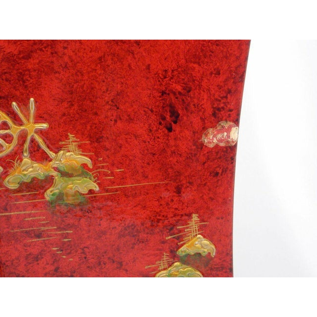 1970's Vintage Red Asian Style Pedestal For Sale - Image 9 of 13