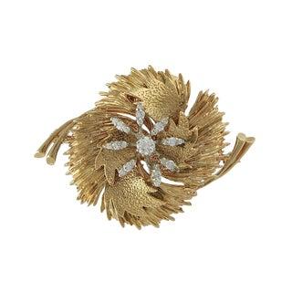 Vintage 18k Gold Diamond Brooch For Sale