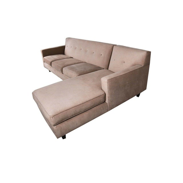 Modern Rowe Furniture Sectional Sofa With Chaise For Sale - Image 3 of 12