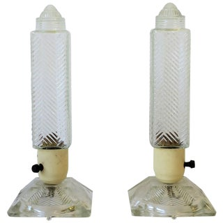 Pair of Art Deco Period Glass Table or Bedside Lamps For Sale