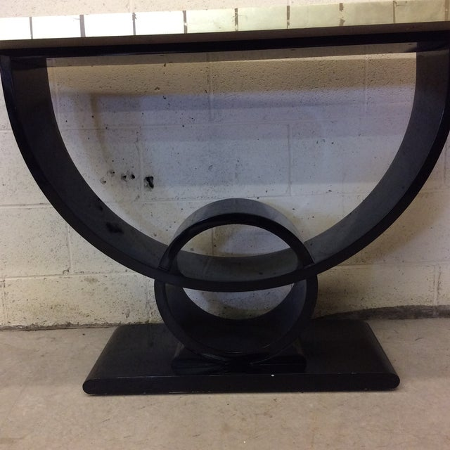 1980s Black Lacquer & Gold Leaf Deco Style Console Table For Sale - Image 5 of 10