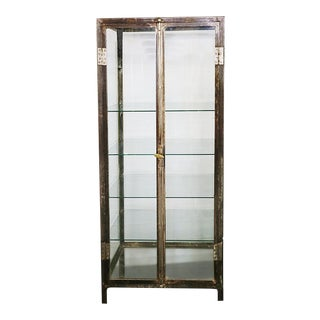 20th Century Industrial Steel Two Door Glass Shelved Display Cabinet For Sale