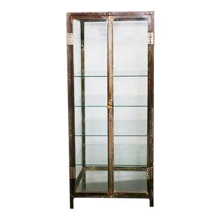 20th Century Industrial Steel Two Door Glass Shelved Display Cabinet