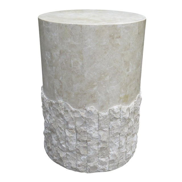 20th Century Vintage Marquis Collection of Beverly Hills Postmodern Tessellated Stone Pedestal / Pedestal Table Base For Sale