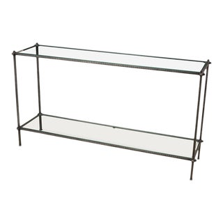 Hand Chased Iron Console Table, Glass Top For Sale