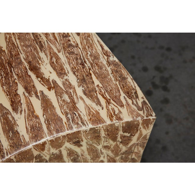"""1990s Contemporary Freeform """"Wave"""" Side Table With Natural Fiber Inlay For Sale - Image 9 of 11"""