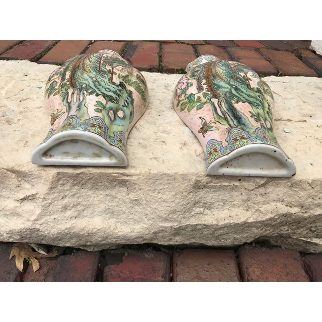 Large Chinoiserie Wall Vases - a Pair For Sale In Chicago - Image 6 of 9