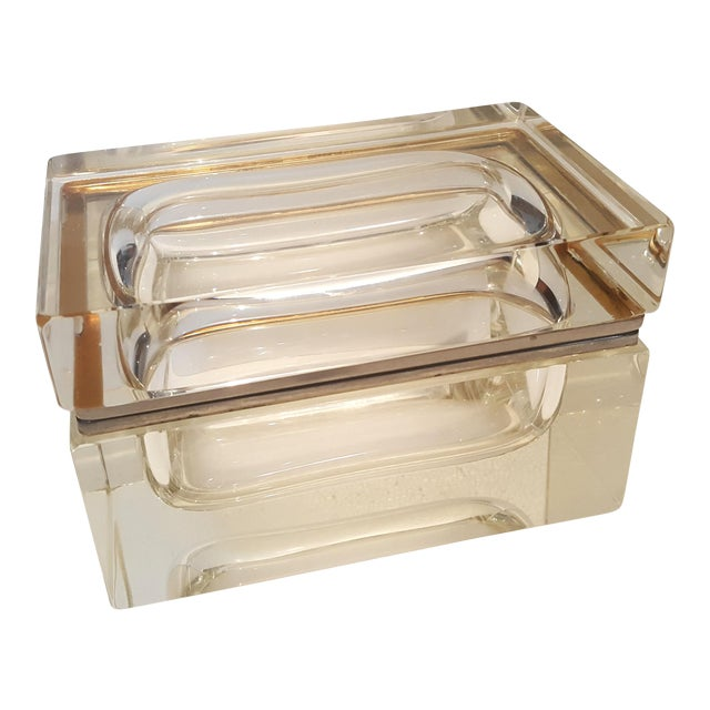 Vintage Heavy Rectangular Crystal Box For Sale