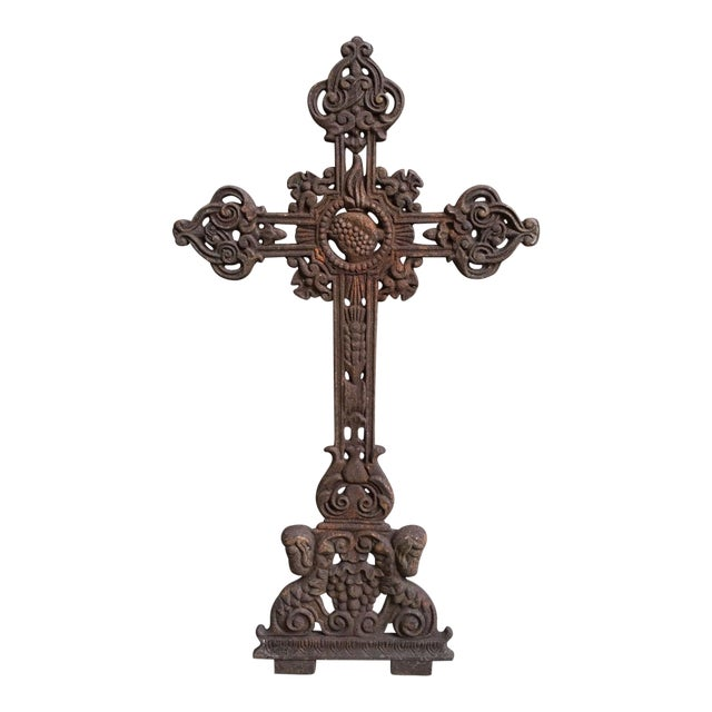 Antique French Cast Iron Cross Crucifix Chapel Garden Architectural Cemetery For Sale