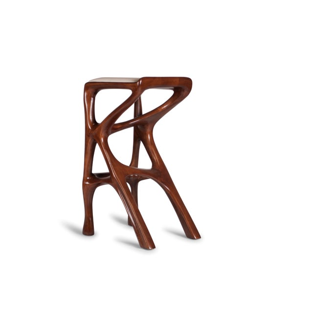 White Amorph Chimera Bar Stool, Stained Walnut For Sale - Image 8 of 13