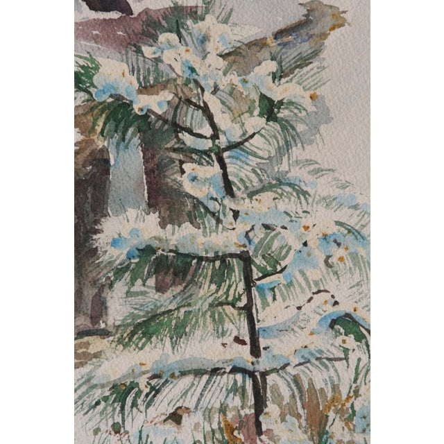 Vintage Watercolor Painting of Snow on Trees - Image 3 of 5