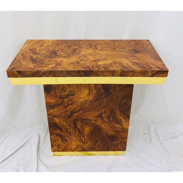 Milo Baughman Vintage Modern Burl & Brass Table For Sale - Image 4 of 12