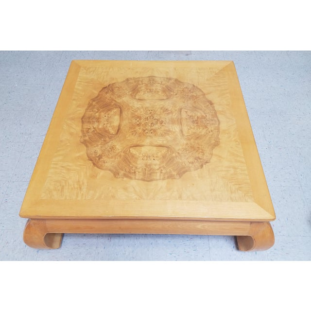 Asian Asian Ming Henredon Burl Wood Coffee Table For Sale - Image 3 of 12