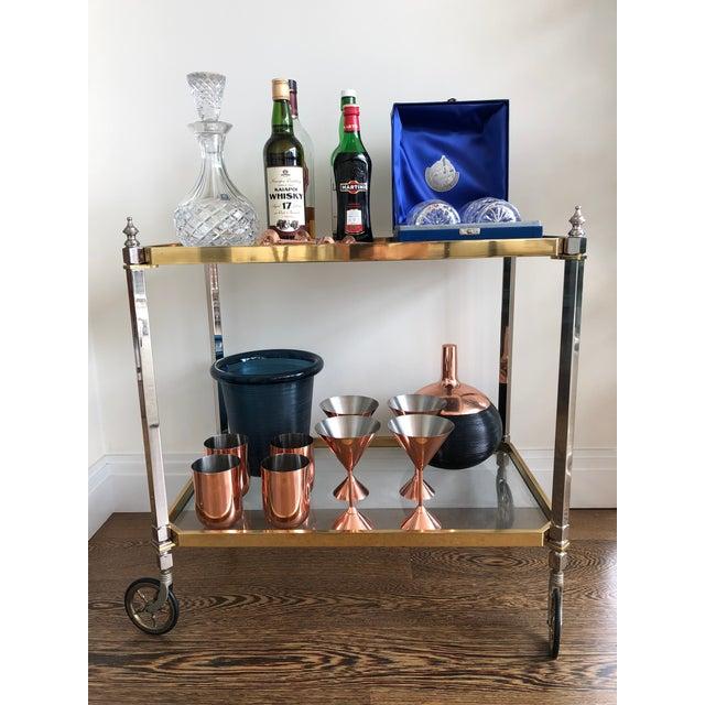 Hollywood Regency 1960s Vintage Italian Brass Nickel & Glass Bar Cart For Sale - Image 3 of 8