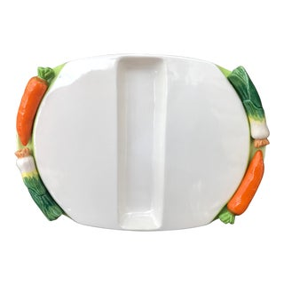 1980s Baby Carrots and Spring Onion Handles Ceramic Serving Tray For Sale