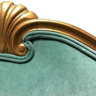 Grotto Style Gilt Wood Shell Motif Neoclassical Green Velvet Twin Upholstered Headboards a Pair Preview