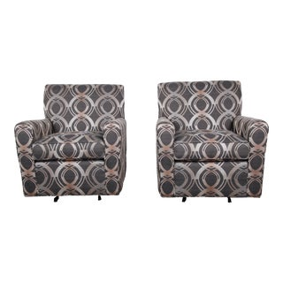 Contemporary Upholstered Swivel Lounge Chairs by Craftmaster - a Pair For Sale