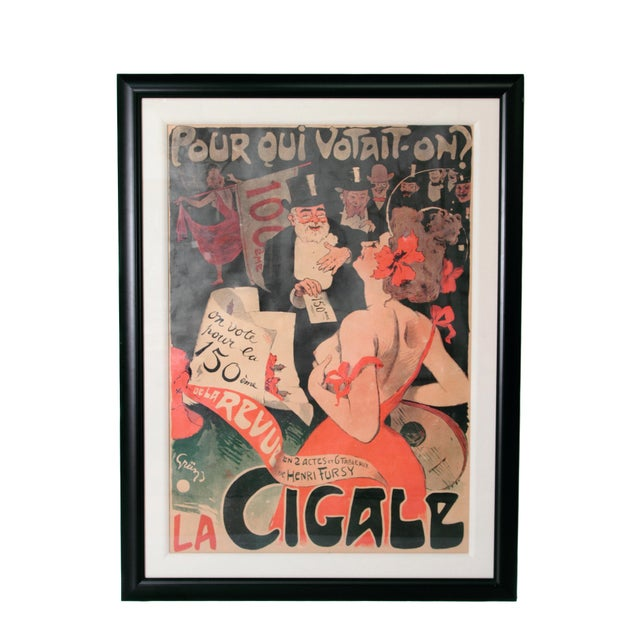 "Gray Large Framed Poster ""La Cigale/Pour Qui Votait-on? by Jules Alexandre Grun For Sale - Image 8 of 8"
