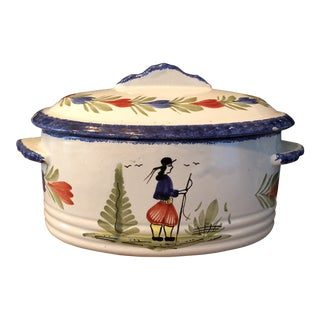 1940s French Country Quimper White Porcelain Casserole With Lid