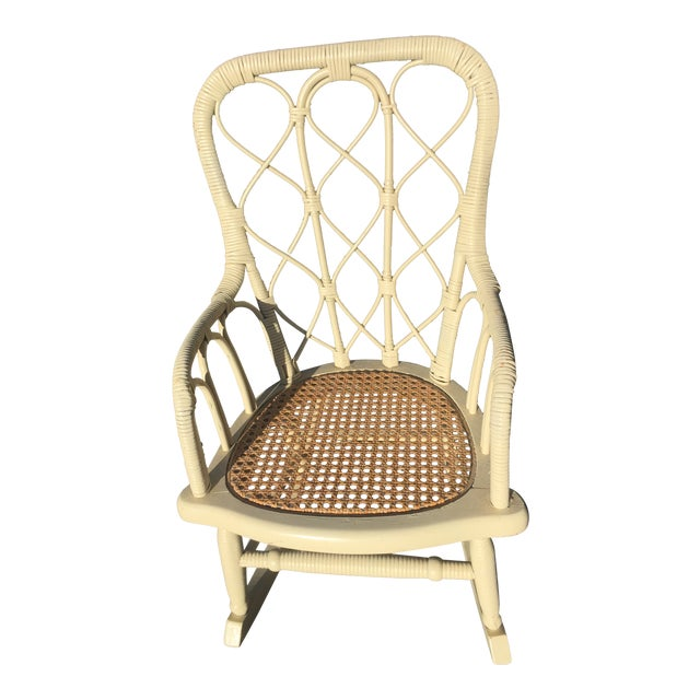 Antique Victorian Wicker Childs Rocking Chair For Sale