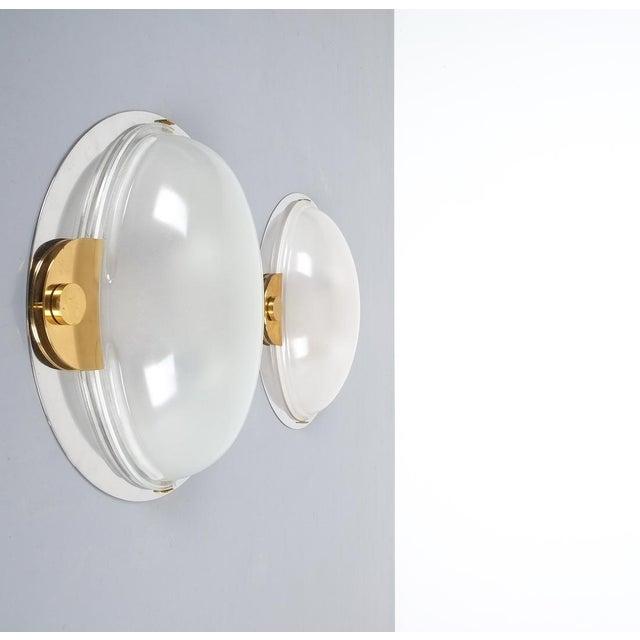 Mid-Century Modern Luigi Caccia Dominioni Flush Mounts or Sconces Brass Chrome Glass, Circa 1978 For Sale - Image 3 of 13