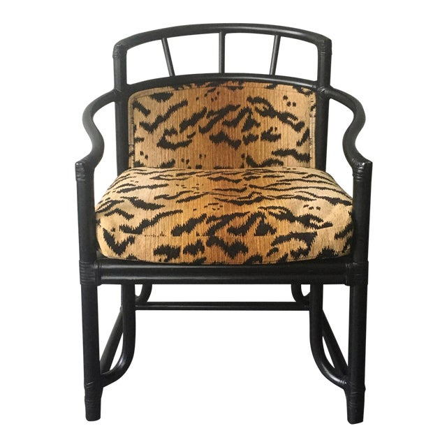 Organic Modern Black Bamboo + Animal Print Chair by Milling Road for Baker Furniture For Sale