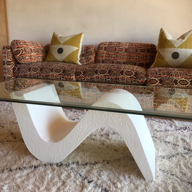 Vintage Post Modern Sculptural Plaster Wave Coffee Table For Sale - Image 10 of 12