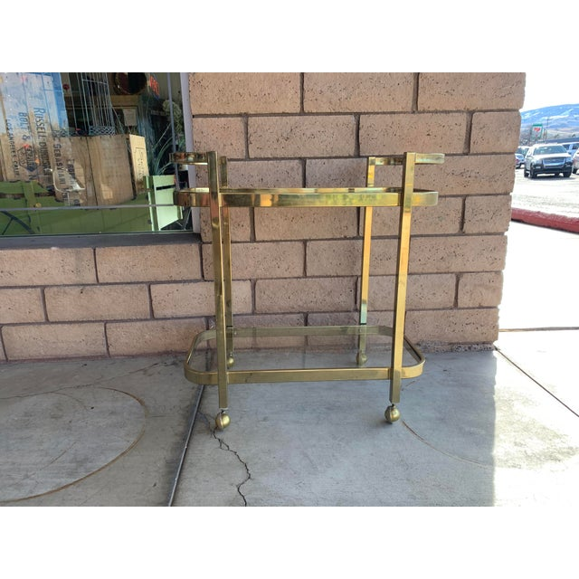 Metal 1970s Milo Baughman For DIA Rolling Brass Bar Cart For Sale - Image 7 of 7