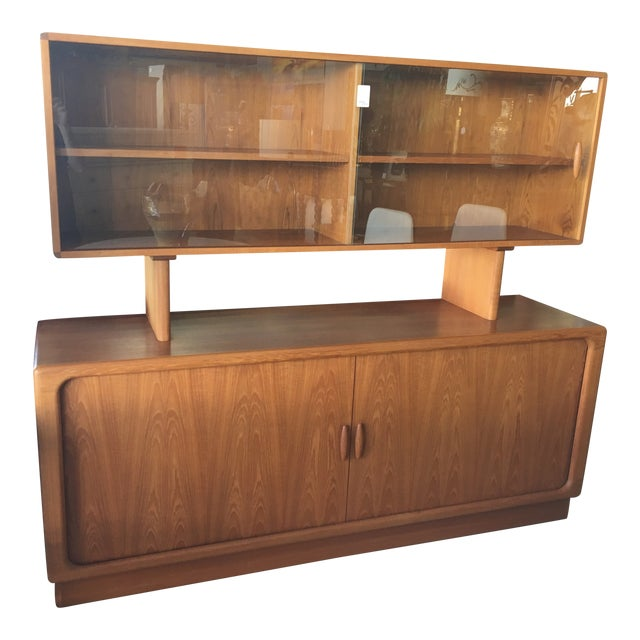 1950s Mid Century Modern Solid Teak Sideboard and Floating Hutch With Accordion Doors For Sale