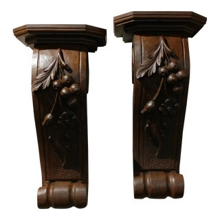 Beautiful Vintage Wall Shelf Corbels - carved Wood -A pair