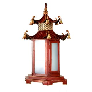 Red & Gold Pagoda Style Metal Lantern For Sale