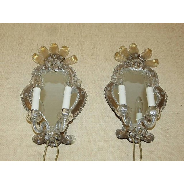 1920s Venetian Italian Mirrored Wall Sconces - a Pair For Sale - Image 11 of 12