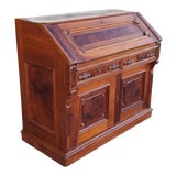 Image of Antique 19th Century Burl Walnut & Inlaid Victorian Slant Top Desk C1880. For Sale
